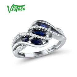 VISTOSO Gold Rings For Women Genuine 14K 585 White Gold Ring Sparkling Diamond Natural Blue Sapphire Luxury Trendy Fine Jewelry
