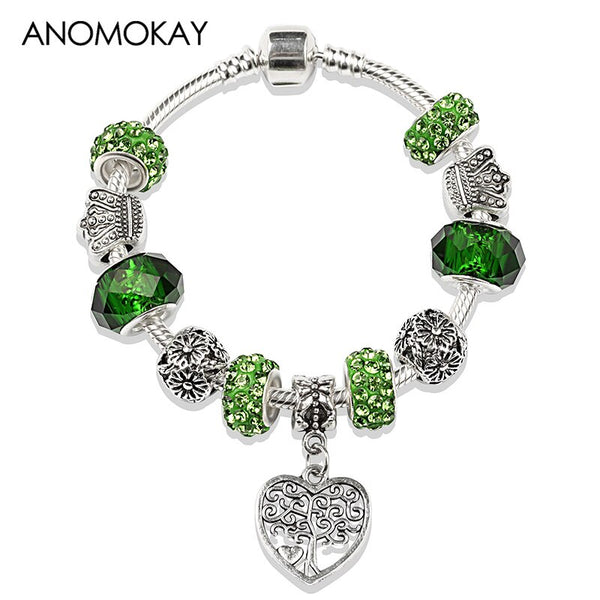 2020 Hot Antique Silver Tree of Life Charm Bracelet Green Crystal Beaded Bracelet Diy Jewelry Making for Boy Girl Gift