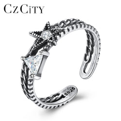 CZCITY Promotion Genuine 925 Sterling Silver Open Rings for Women Geometric Design Finger Ring Vintage Anniversary Fine Jewelry