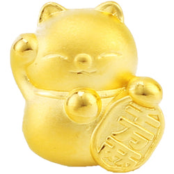 Real 999 24k Yellow Gold Pendant 3D Women Lovely Fortune Cat Only Pendant 10*12.5mm