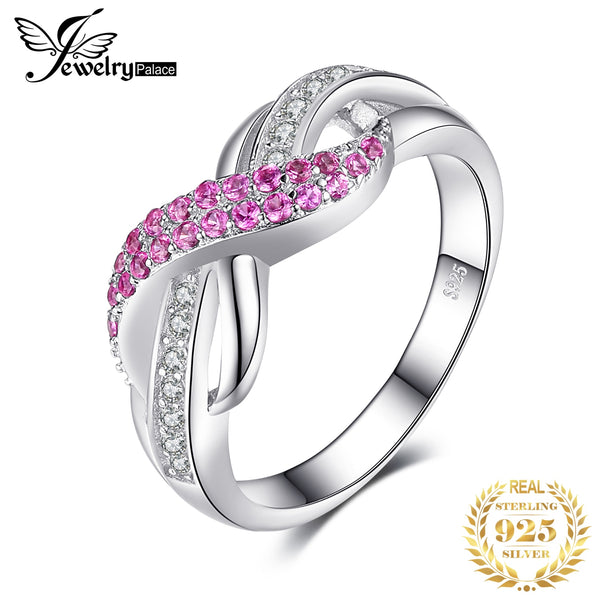 JewelryPalace Infinity Created Pink Sapphire Ring 925 Sterling Silver Rings for Women Promise Ring Silver 925 Gemstones Jewelry