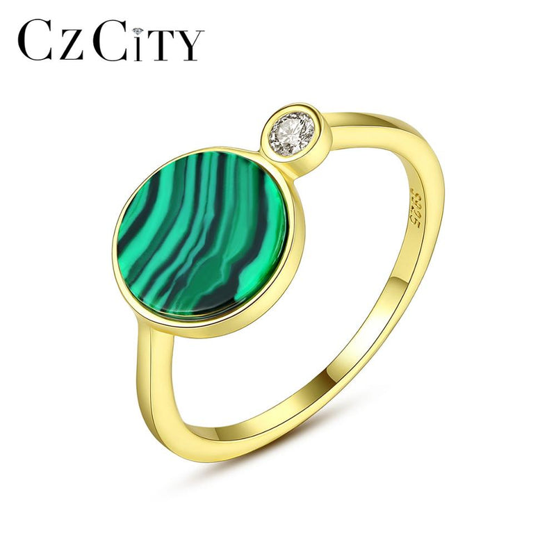 925 Sterling Silver Round Malachite Rings for Women Wedding Party Luxury CZ 18k Plated Green Romantic Female Jewelry Gift