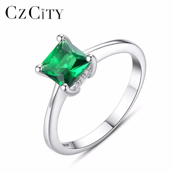 Emerald Simple Female Zircon Stone Finger Ring 925 Sterling Silver Women Jewelry Prom Wedding Engagement Rings Brand Gift