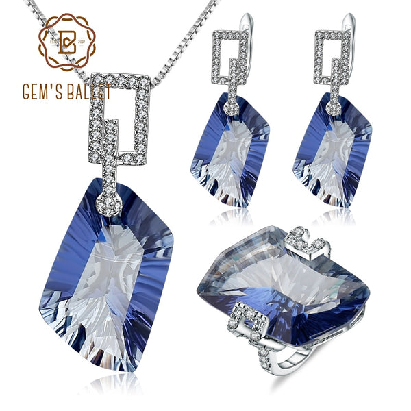 GEM'S BALLET 63.59Ct 925 Sterling Silver Necklace Earrings Ring Set Natural Iolite Blue Mystic Quartz Jewelry Set For Women