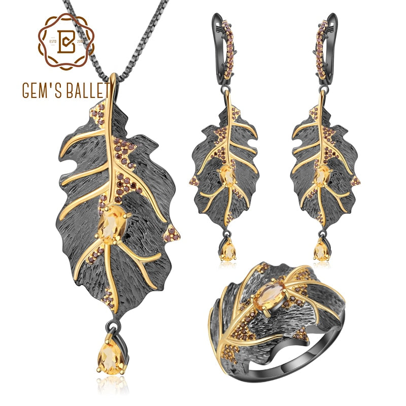 GEM'S BALLET Georgia O'keeffe Natural Citrine 925 Sterling Silver Handmade Leaves Ring Earrings Pendant Jewelry Set For Women