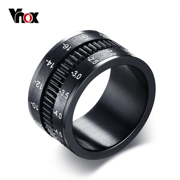Vnox Men Ring Rotate Camera Black Unique 12mm Width Stainless Steel Middle Spinner