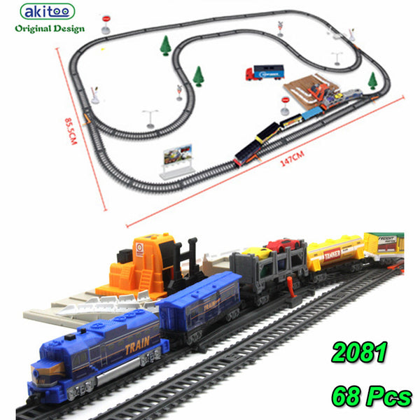 akitoo 1021 Electric light rail car full length 762CM  train children diy toys loading station parent-childtoys gift