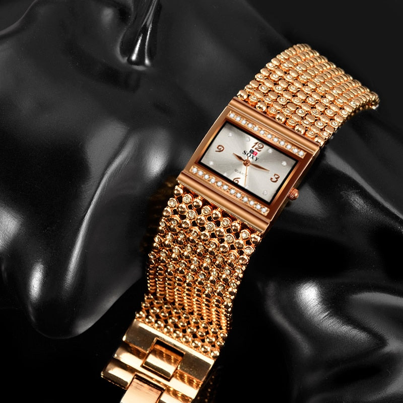Luxury Women's Watches Rhinestone Bracelet Watches For Women Rose Gold Watch Ladies Stainless Steel Quartz Clock reloj mujer
