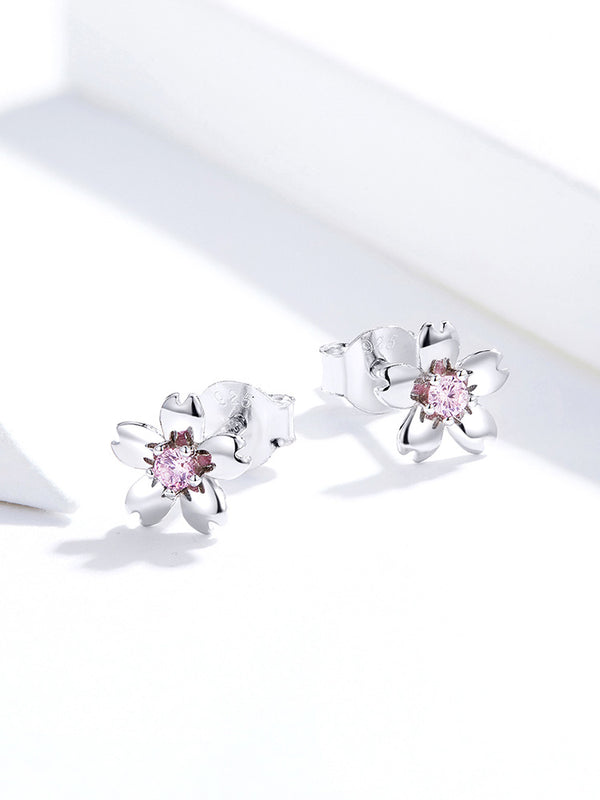 Pink Cherry Flower Stud Earrings for Women 925 Sterling Silver Cute Korean Girls Earings Accessories Oreilles SCE784
