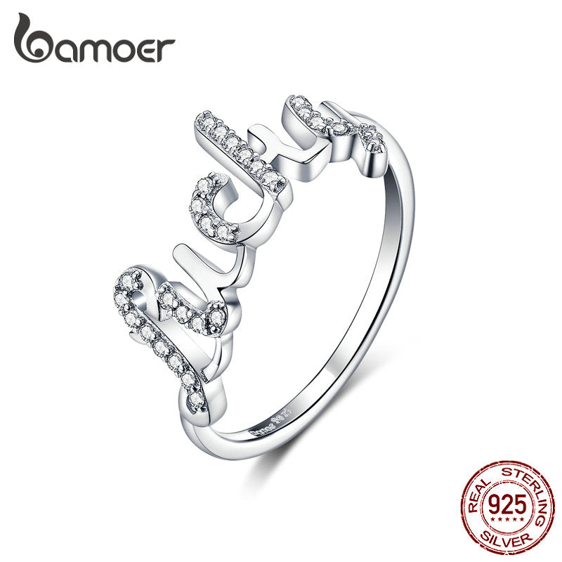 925 Sterling Silver Jewelry Lucky Letter Finger Rings for Women Clear CZ Sterling Silver Fine Jewelry 2019 New Girl Gifts BSR092