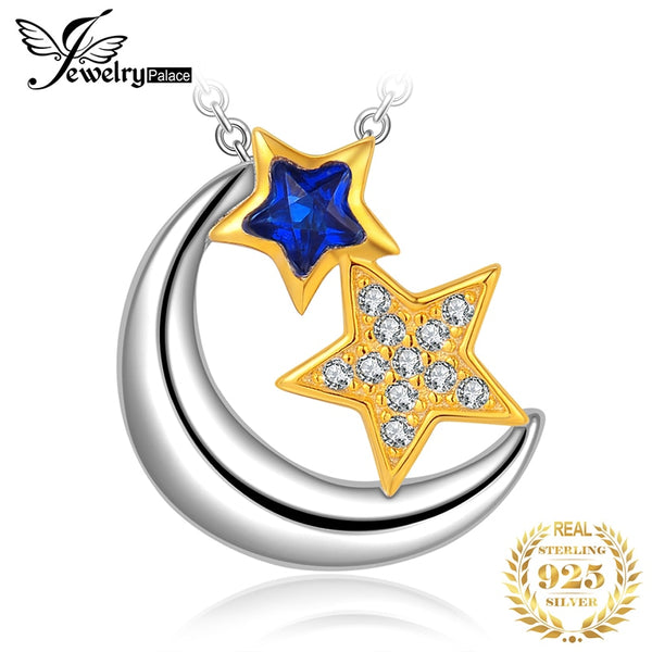 JPalace Star Moon Created Spinel Pendant Necklace 925 Sterling Silver Gemstones Choker Statement Necklace Women Without Chain