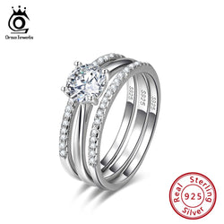 ORSA JEWELS Real 925 Sterling Silver Female Engagement Rings Cubic Zirconia Women's Ring Trendy Valentine Present Jewelry SR134