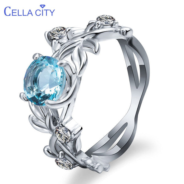 Cellacity Silver 925 Jewelry Gemstones Ring for Women Aquamarine Zircon Hollowed out Flowers Size6,7,8,9,10 Engagement Accessory