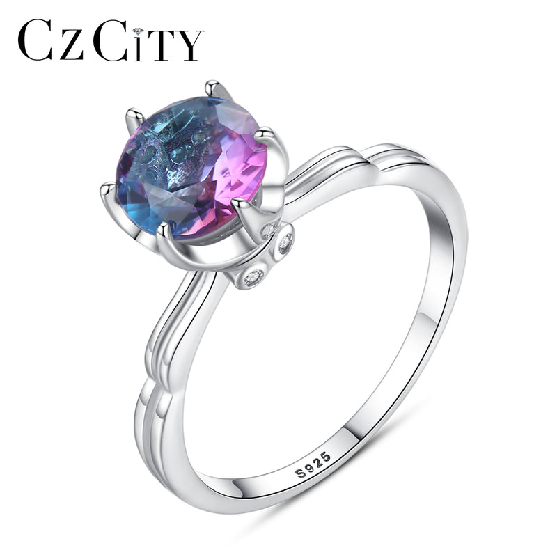 CZCITY Genuine 925 Sterling Silver Rainbow Fire Mystic Topaz Solid Ring For Women Jewelry Gift Fine Jewelry Engagement Ring