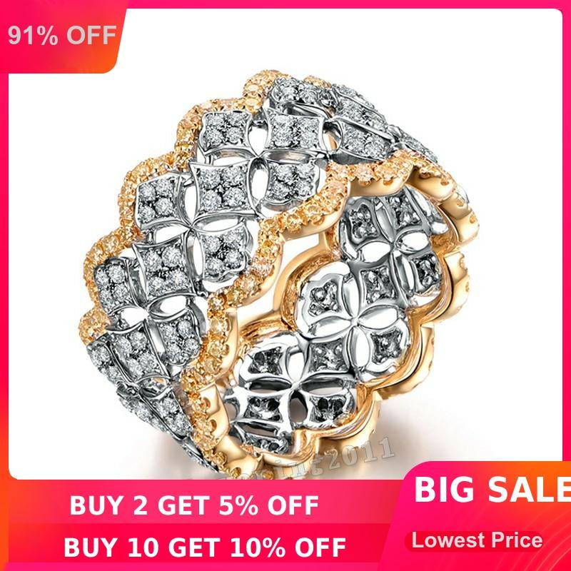 choucong Pave set 220pcs AAAAA zircon cz Rose Gold 925 Sterling silver Engagement Wedding Band Ring for women