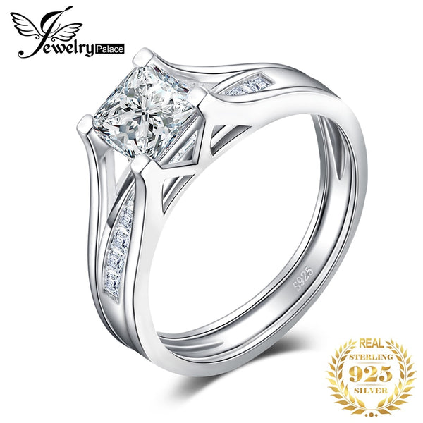 JPalace 2ct Princess Engagement Ring Set 925 Sterling Silver Rings for Women Wedding Rings Channel Bridal Set Silver 925 Jewelry