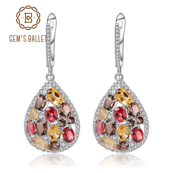 GEM'S BALLET Natural Citrine Garnet Smoky Quartz Elegant Earrings 100% 925 Sterling Silver Drop Earrings for Women Fine Jewelry