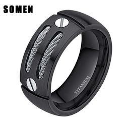8mm Men's Silver Black Cable Screw Inlay Titanium Ring Cool Wedding Band Punk Rock Male Jewelry bague homme anel masculino