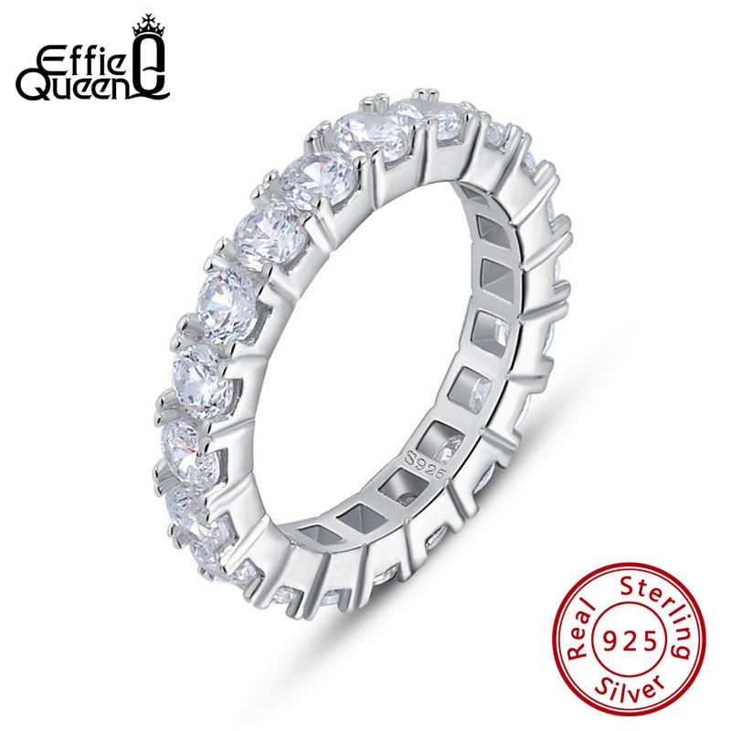 Effie Queen Silver 925 Finger Ring Fancy Ladies Ring Paved with 22 Pieces AAAA Zircon Wedding Band Engagement Jewelry Ring BR205