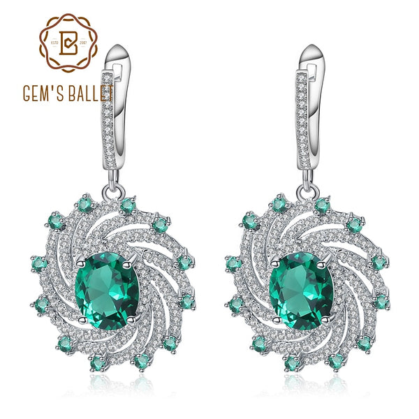 GEM'S BALLET Nano Emerald Green Spiral Shape Earrings Real 925 Sterling Silver Gemstone Drop Earrings For Women Fine Jewelry