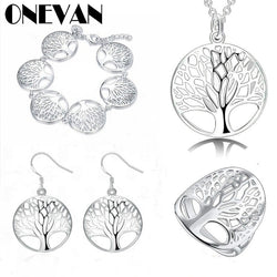 4PCS/set Tree of Life Lucky Elegant Silver Pendant Necklace/Earrings/Bracelet/Ring Jewelry Set for Women Wedding Engagement Set