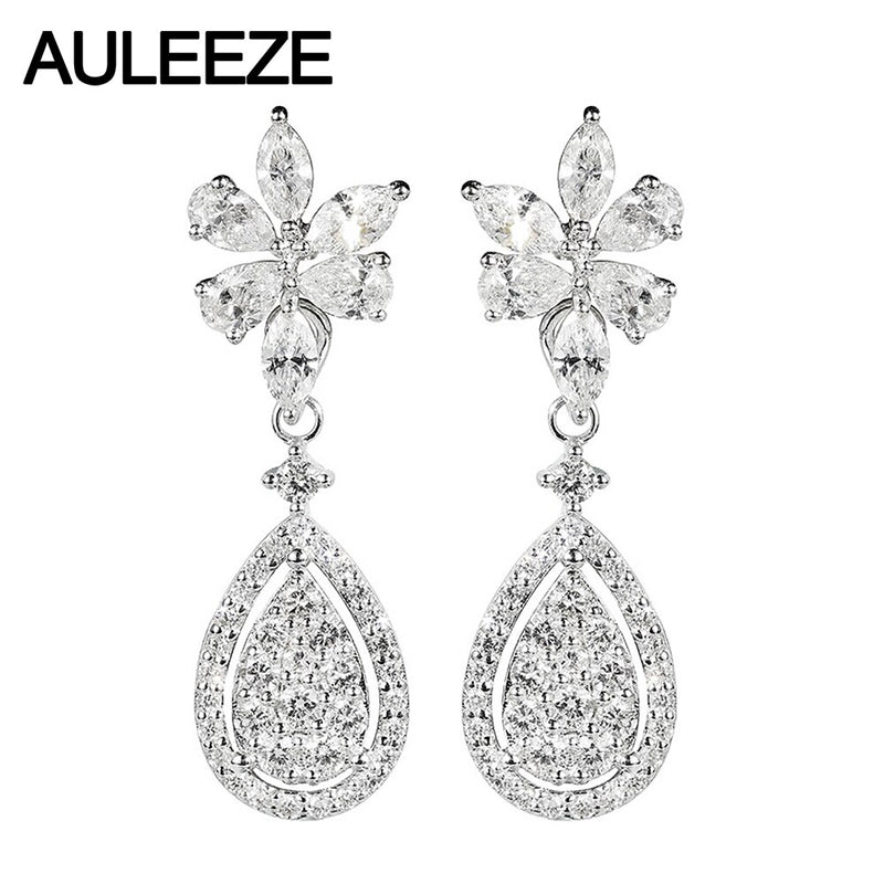 AULEEZE Luxury 14k White Gold Pear Cut DF Color Moissanite Flower Shape Drop Earrings with Accents For Women Anniversary Gifts