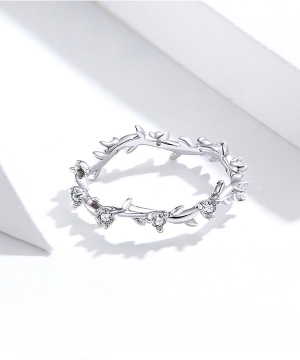 925 Sterling Silver Flower Branch Vine Ring CZ Statement Jewelry Female Bague SCR625
