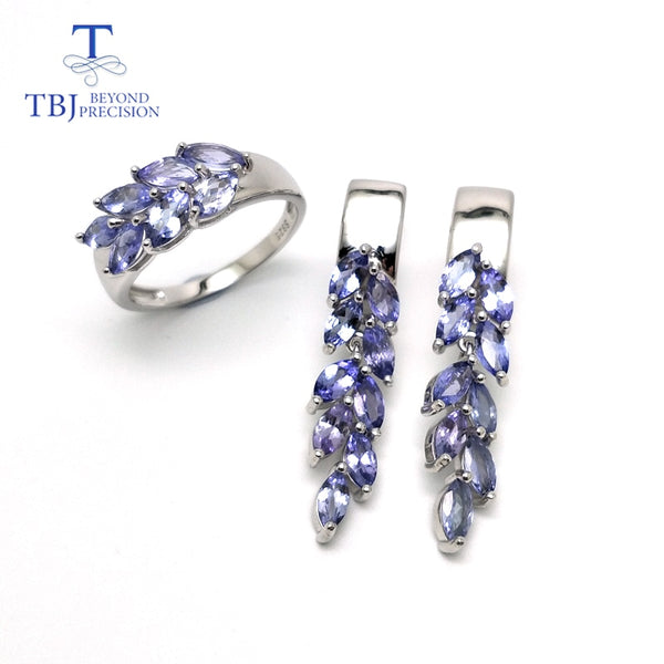 Natural gemstone tanzanite jewelry set 925 sterling silver earring&rings fine jewelry for women Black Friday and Christmas gift