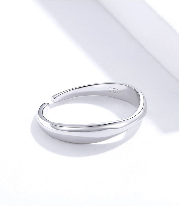 Irregular Ocean Wave Finger Rings for Women 925 Stelring Silver Free Size Adjustable Ring Female Fashion Jewelry SCR630