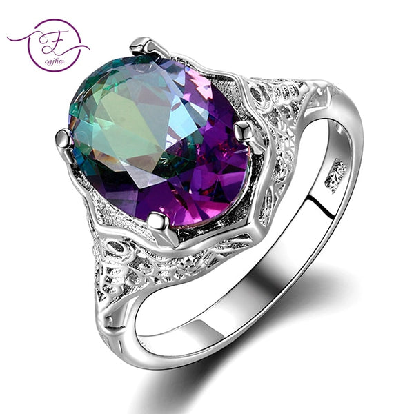 Rainbow Fire Mystic Topaz Ring 925 Sterling Silver Ring Fine Jewelry Gift For Women Lady Girls Wholesale
