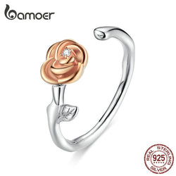 3D Vivid Rose Flower Open Adjustable Finger Rings for Women Real 925 Sterling Silver Free Size Korean Jewelry BSR096