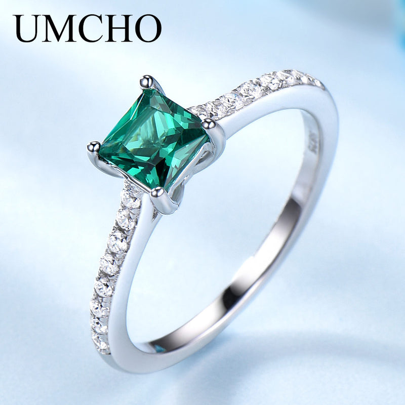 Green Emerald Gemstone Rings for Women Genuine 925 Sterling Silver Fashion May Birthstone Ring Romantic Gift Fine Jewelry