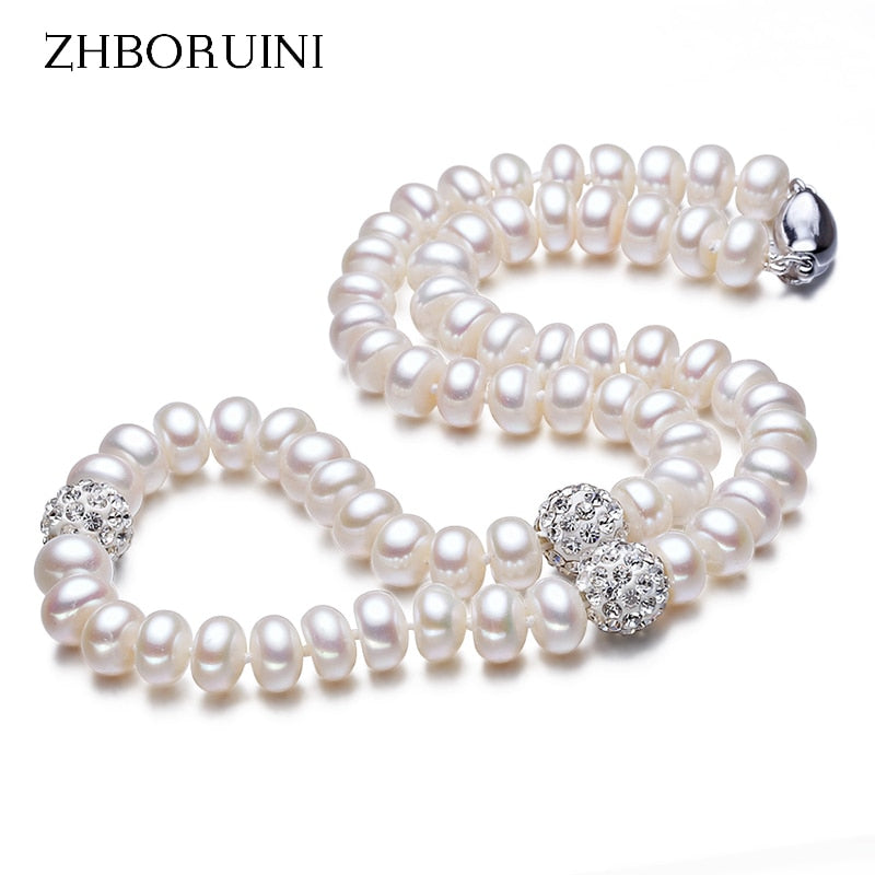 ZHBORUINI 2020 Pearl Necklace 925 Sterling Silver Jewelry For Women 8-9mm Crystal Ball Natural Freshwater Pearls Pearl Jewelry