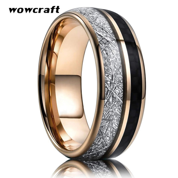 Rose Gold Mens Womens Ring Tungsten Carbide Wedding Band with Carbon Fiber Meteorite Inlay Engagement New Jewelry Comfort Fit