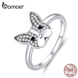 925 Sterling Silver French Bulldog Finger Rings for Women Clear CZ Party Statement Silver 925 Jewelry SCR612