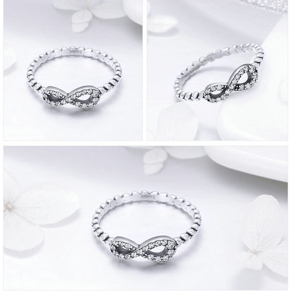 925 Sterling Silver Infinity Love Forever Heart Clear CZ Finger Ring for Women Sterling Silver Jewelry SCR414