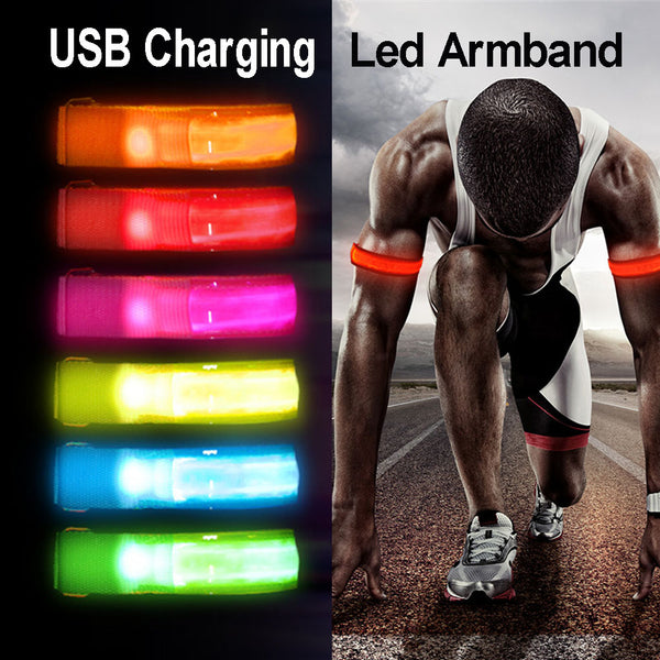 USB Charging Night Running Led Armband Outdoor Cycling Jogging Arm Strap Bike Safety Light Reflective Belt Warning Wristband
