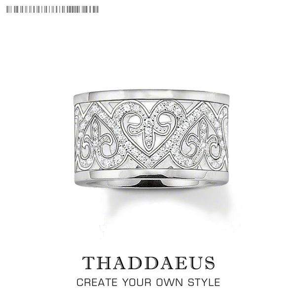 Arabesque Hearts Band Ring,Thomas Style Glam Fashion Good Jewerly For Women,2020 New Ts Gift In 925 Sterling Silver,Super Deals