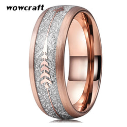 8mm Rose Gold Wedding Bands Tungsten Carbide Rings for Men Women Brushed Finish Domed Meteorite Arrow Inlay Comfort Fit