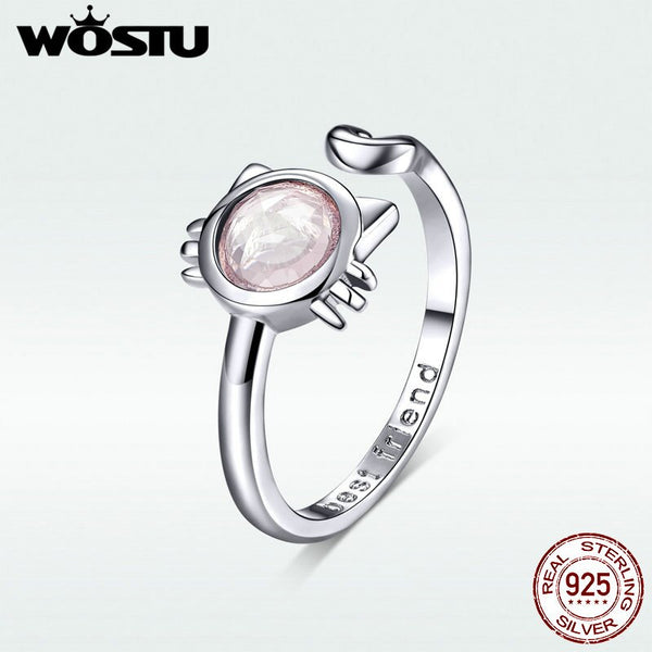 WOSTU Original Authentic 925 Sterling Silver Ring Classic Pink Lovely Kitty Adjustable Finger Ring Making Jewelry Gift DAR033