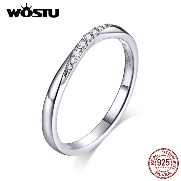 WOSTU 100% 925 Sterling Silver Shining Zirconia Rings For Women Wedding Engagement Simple Ring Fashion 925 Jewelry CTR095