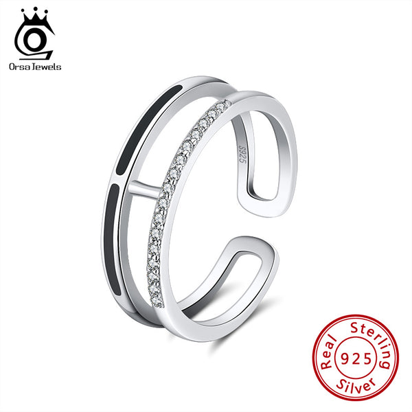 ORSA JEWELS Authentic 925 Enamel Rings For women AAAA Zircon Sterling Silver Anniversary Party Stackable Ring Fine Jewelry SR158