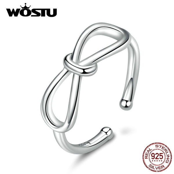 WOSTU 100% 925 Sterling Silver Simple Bowknot Open Size Ring For Women Wedding Engagement Rings Fashion Jewelry CTR080