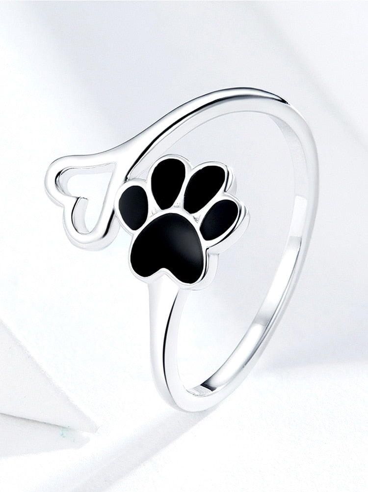 925 Black Enamel Dog Paw Heart Adjustable Finger Rings for Women  Jewelry Accessories SCR584