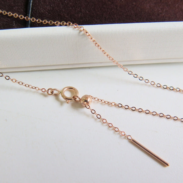 "Au750 18K Rose Gold Necklace Women O Chain Link Adjustable 18""L"