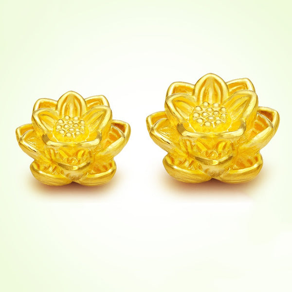 1pcs 999 Hot Sale Pure 24K Yellow Gold Perfect Lotus Woman &Baby's Lucky DIY Pendant 12*8mm