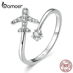 925 Sterling Silver Flying Plane Open Finger Rings for Women Clear CZ Adjustable Rings Fine Jewelry Bijoux SCR623