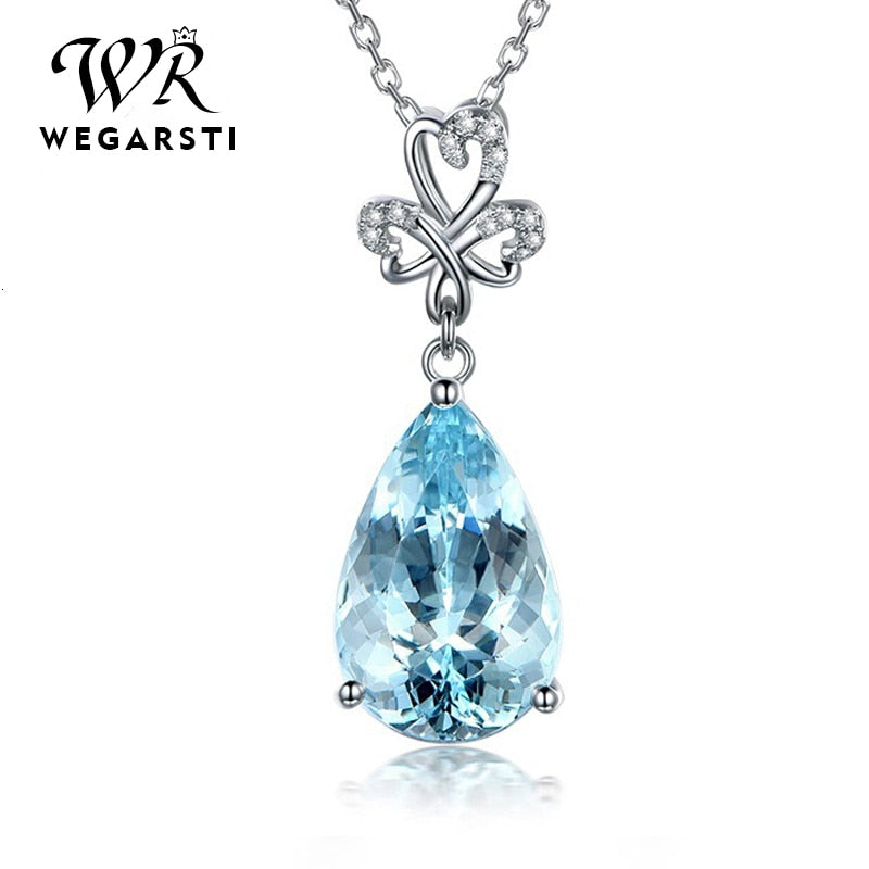 Silver 925 Jewelry Necklace Pendent Aquamarine Water Drop 925 Sterling Silver Jewelry Woman Wedding Party Gift