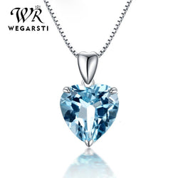 Silver 925 Jewelry Necklace 100% Sterling Silver 925 Sapphire Pendant Luxury Woman Silver Necklace Fine Jewelry