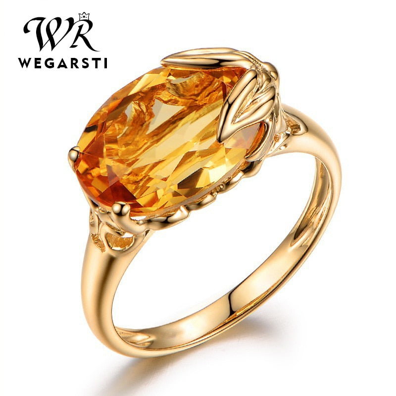 Silver 925 Jewelry Ring For Women Oval Shape Topaz Citrine Gemstone Ring Party Female Silver Ring Fine Jewely